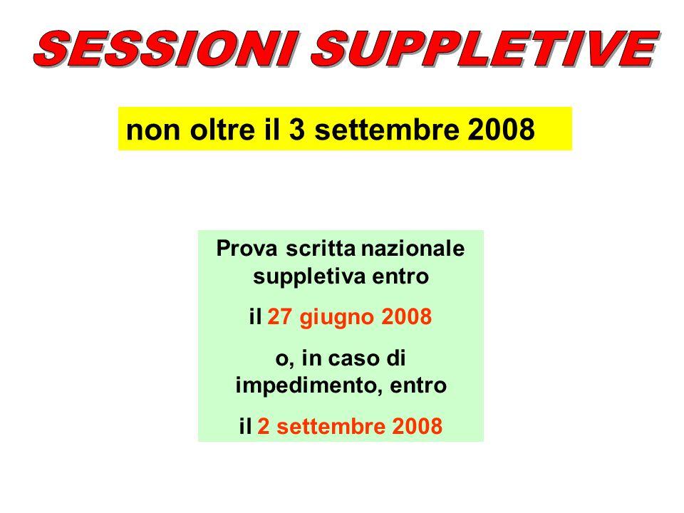 SESSIONI SUPPLETIVE non oltre il 3 settembre 2008