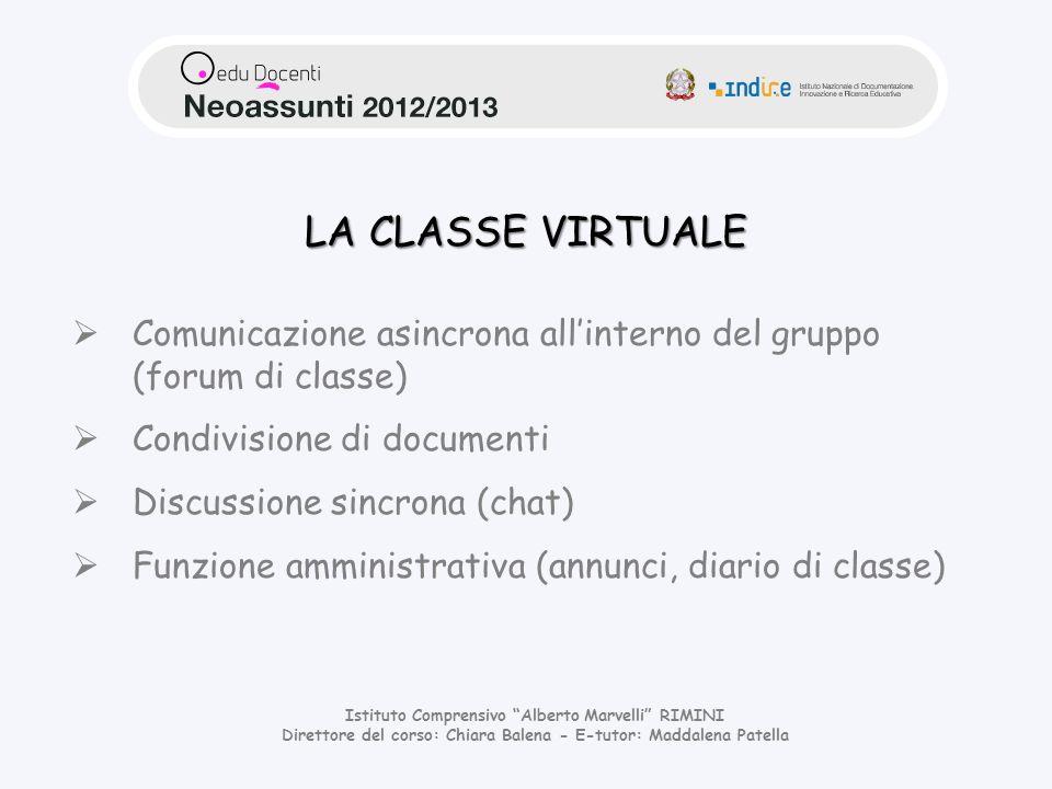 LA CLASSE VIRTUALE Comunicazione asincrona all'interno del gruppo (forum di classe) Condivisione di documenti.