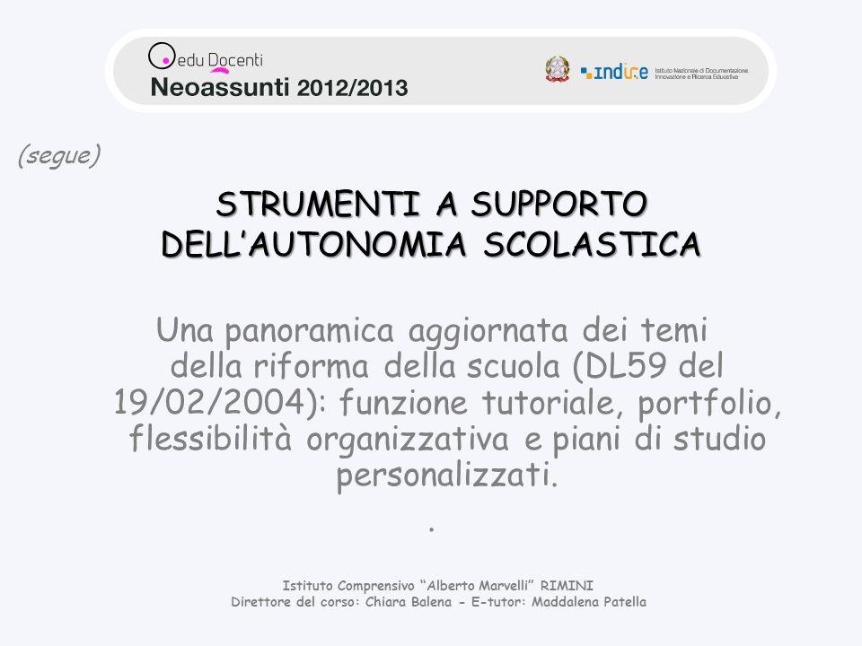STRUMENTI A SUPPORTO DELL'AUTONOMIA SCOLASTICA