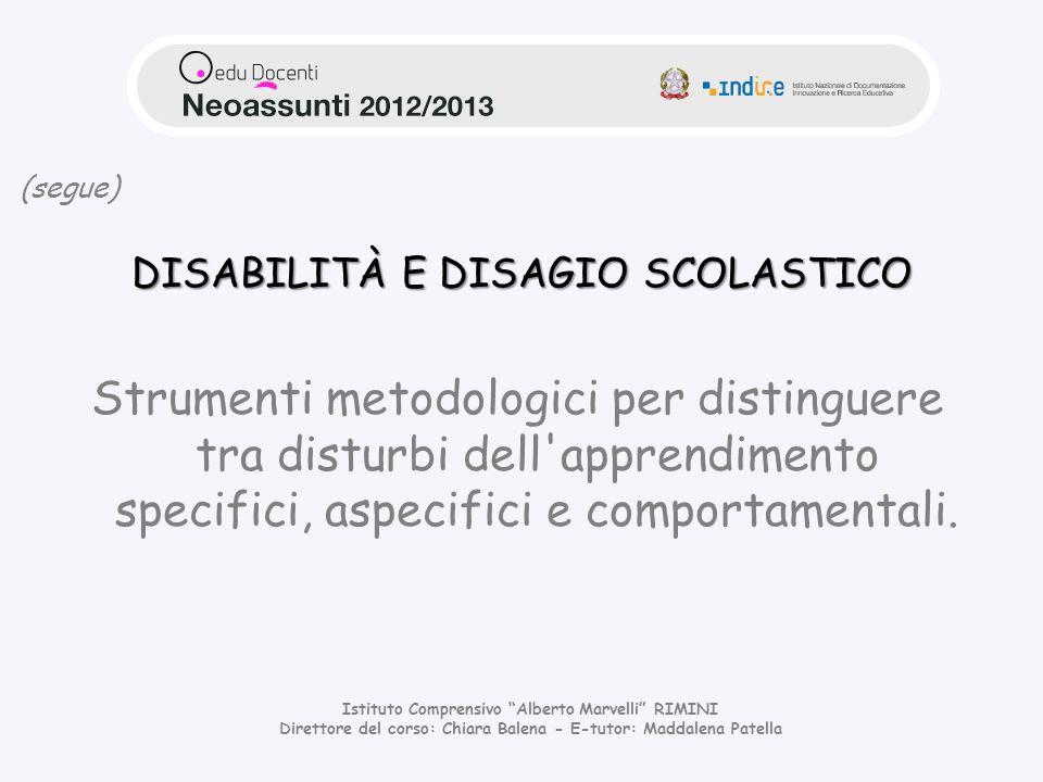 DISABILITÀ E DISAGIO SCOLASTICO