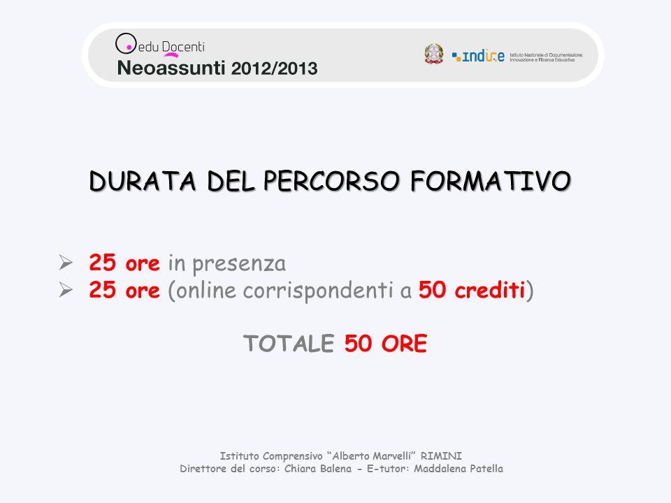 DURATA DEL PERCORSO FORMATIVO
