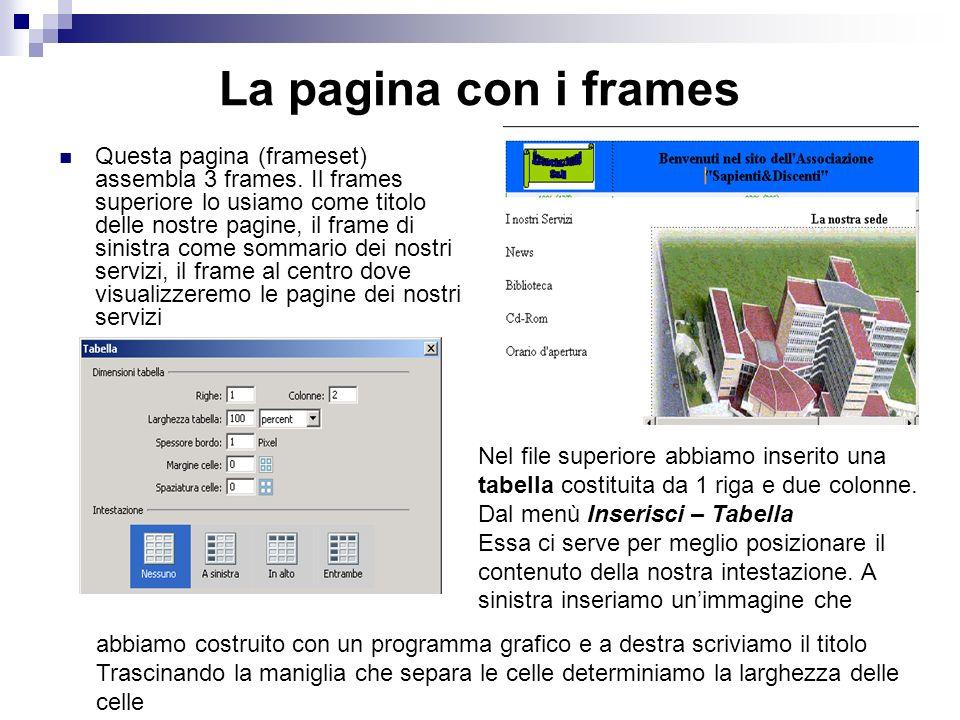 La pagina con i frames