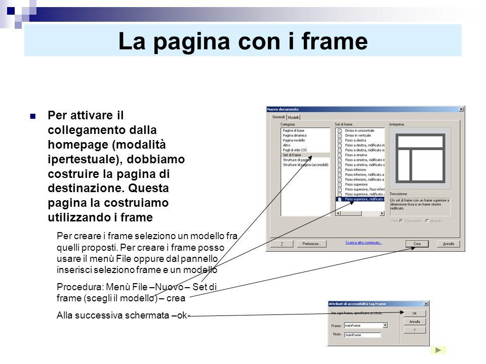 La pagina con i frame