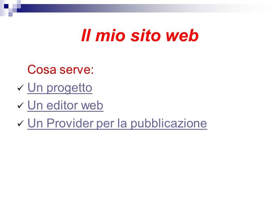 Il mio sito web Cosa serve: Un progetto Un editor web