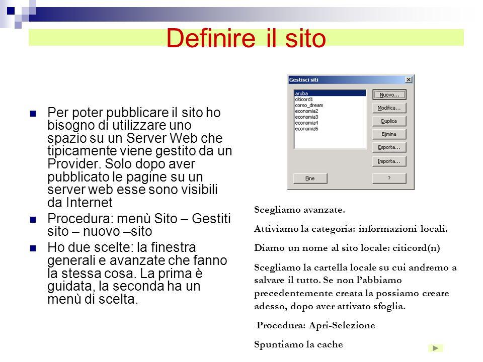 Definire il sito