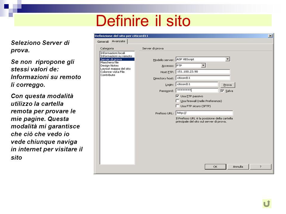 Definire il sito Seleziono Server di prova.