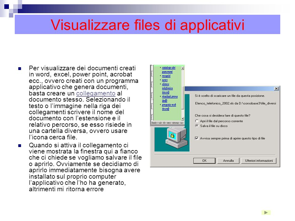 Visualizzare files di applicativi