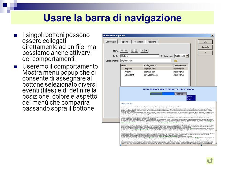 Usare la barra di navigazione