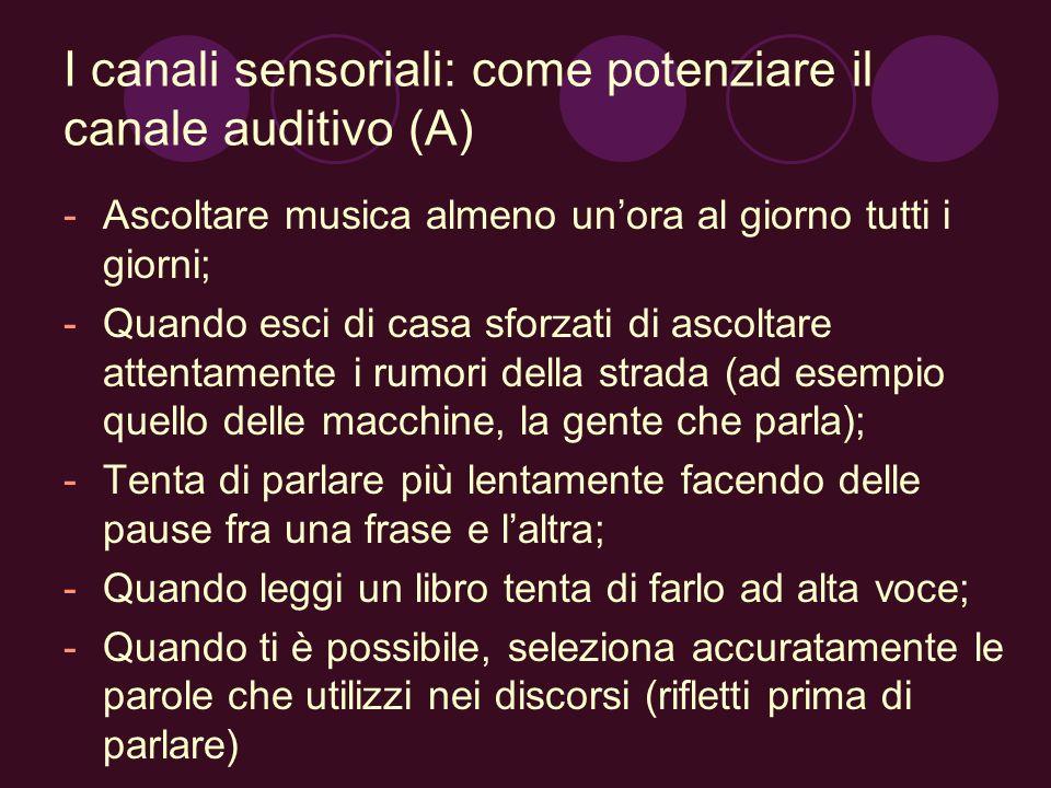 I canali sensoriali: come potenziare il canale auditivo (A)