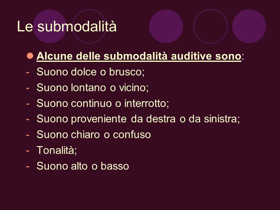 Le submodalità Alcune delle submodalità auditive sono: