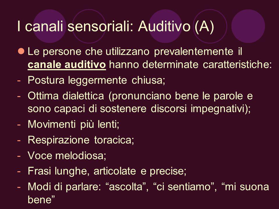 I canali sensoriali: Auditivo (A)