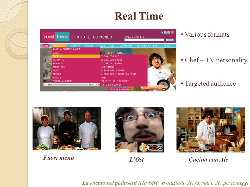 Real Time Various formats Chef – TV personality Targeted audience