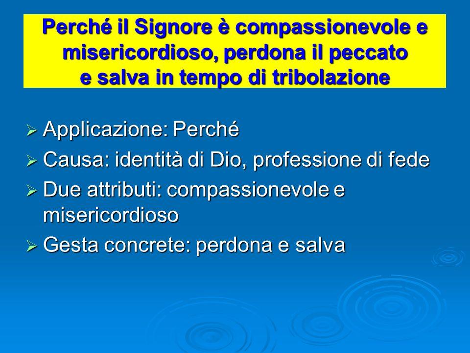 Perché il Signore è compassionevole e misericordioso, perdona il peccato e salva in tempo di tribolazione