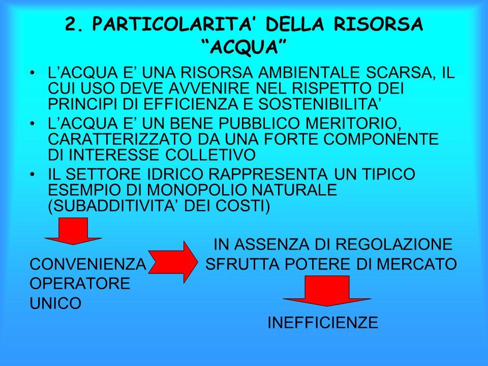 2. PARTICOLARITA' DELLA RISORSA ACQUA