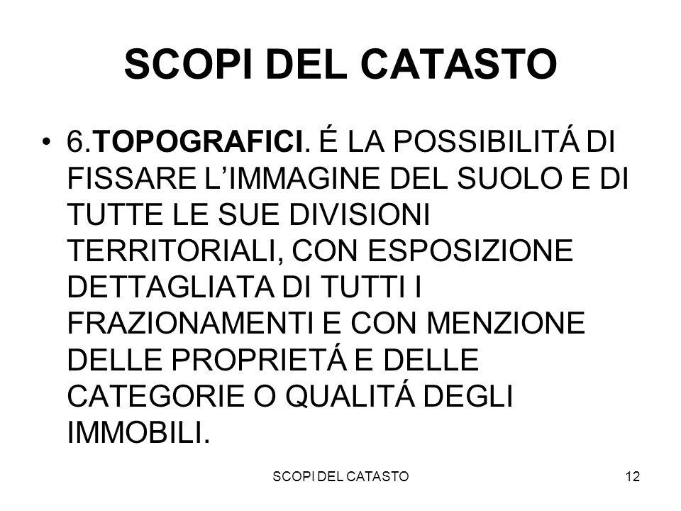 SCOPI DEL CATASTO