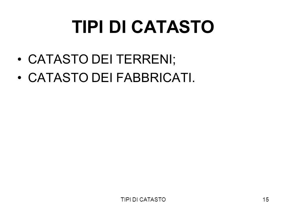 TIPI DI CATASTO CATASTO DEI TERRENI; CATASTO DEI FABBRICATI.