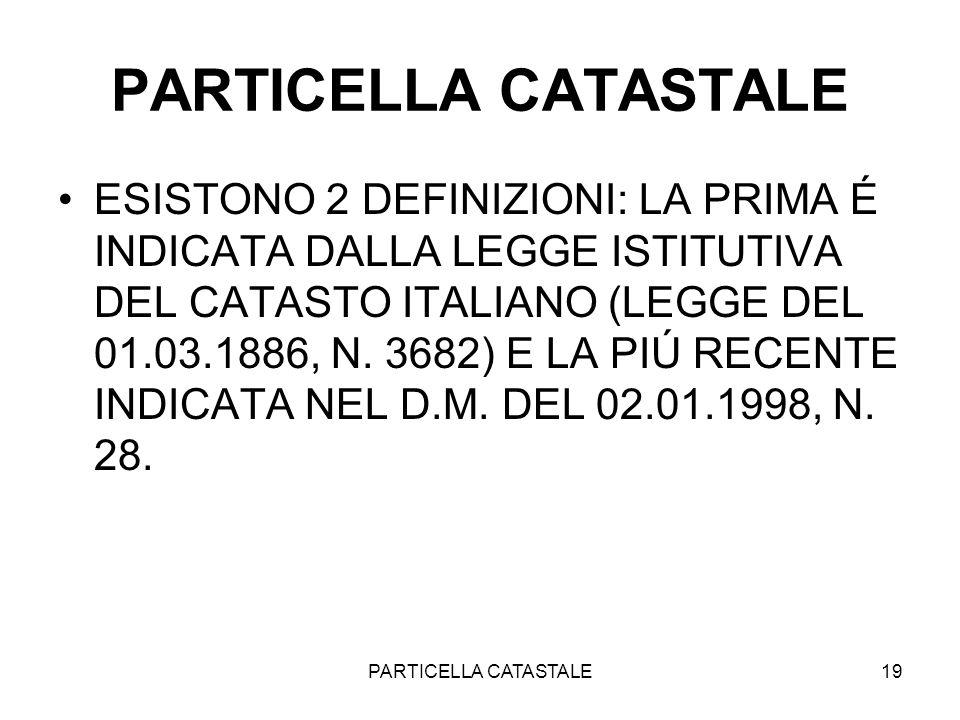 PARTICELLA CATASTALE
