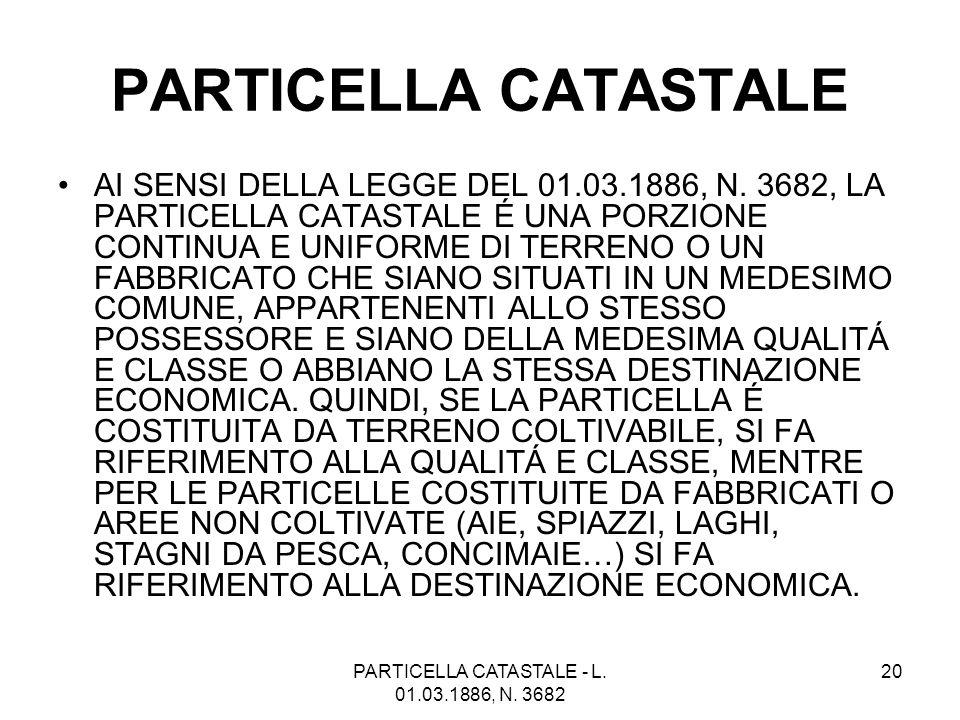 PARTICELLA CATASTALE - L. 01.03.1886, N. 3682