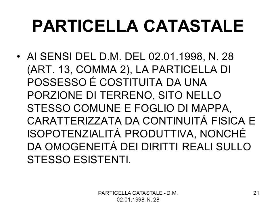 PARTICELLA CATASTALE - D.M. 02.01.1998, N. 28