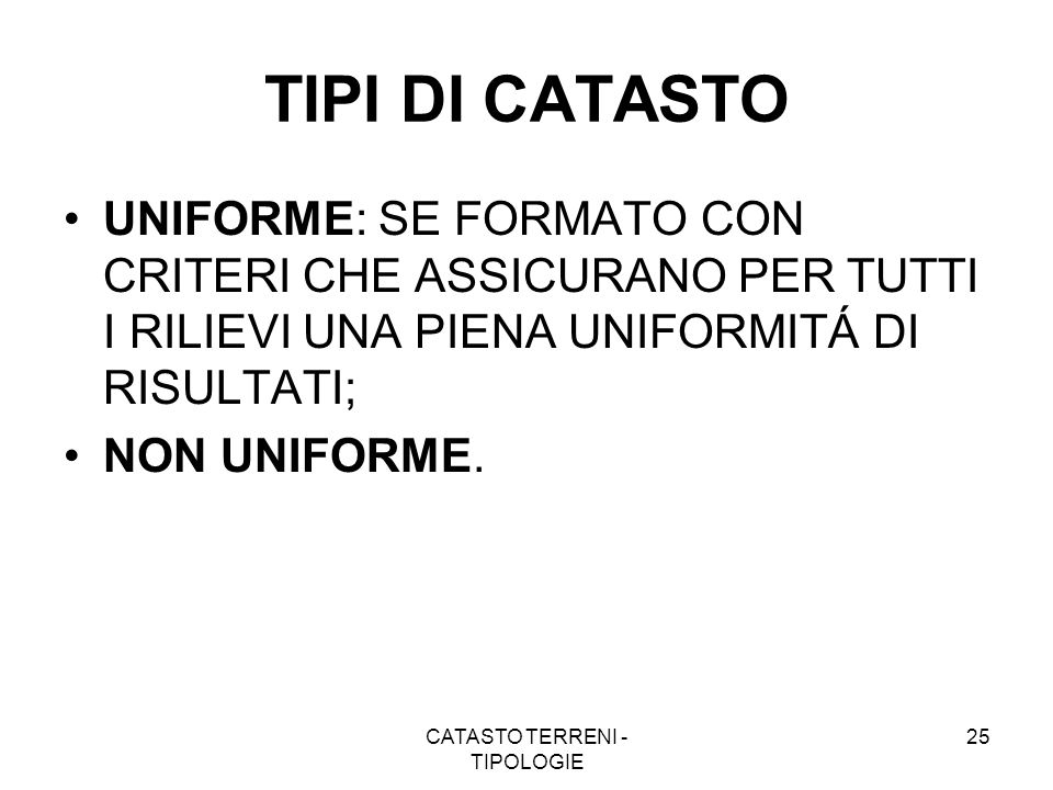 CATASTO TERRENI - TIPOLOGIE