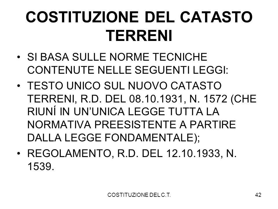 COSTITUZIONE DEL CATASTO TERRENI