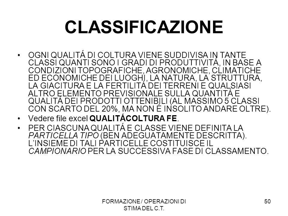 FORMAZIONE / OPERAZIONI DI STIMA DEL C.T.
