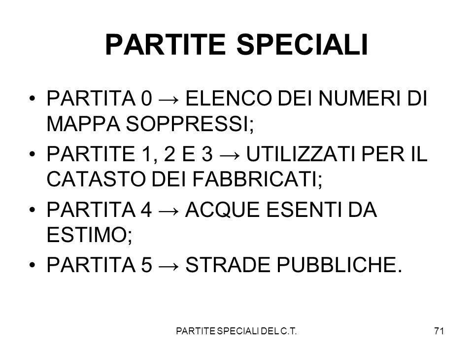 PARTITE SPECIALI DEL C.T.