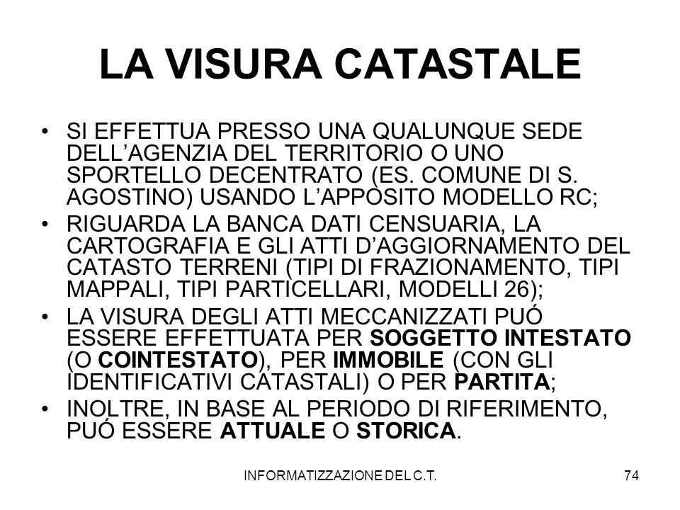 INFORMATIZZAZIONE DEL C.T.