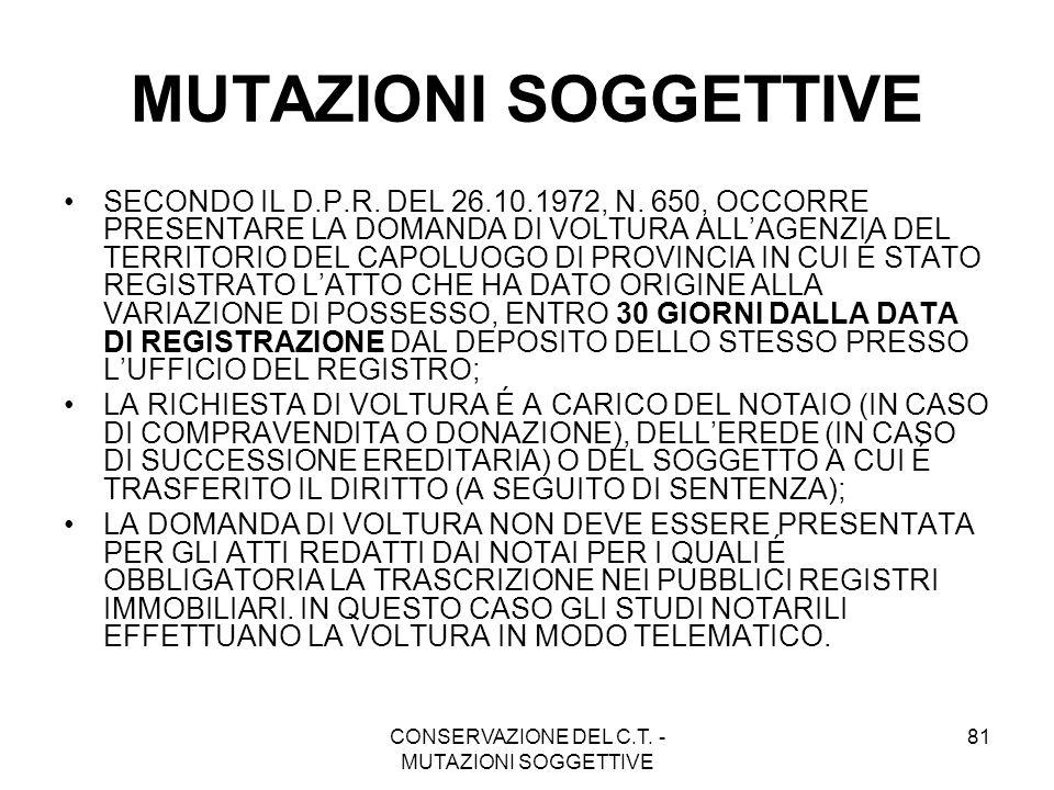 CONSERVAZIONE DEL C.T. - MUTAZIONI SOGGETTIVE