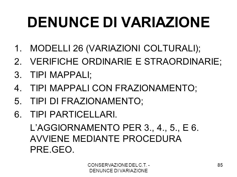 CONSERVAZIONE DEL C.T. - DENUNCE DI VARIAZIONE