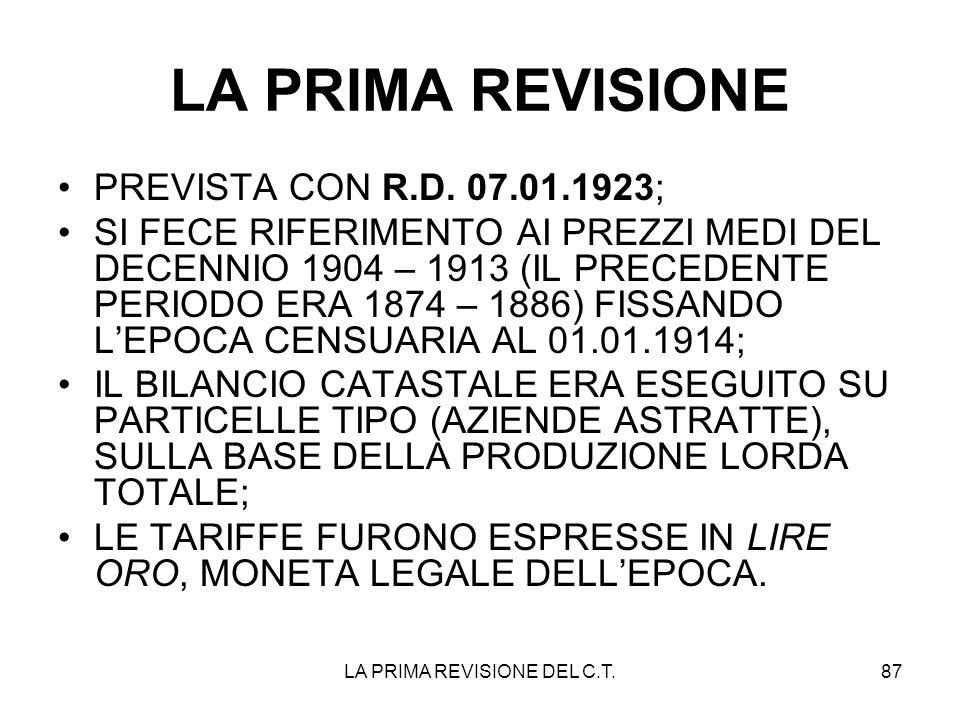 LA PRIMA REVISIONE DEL C.T.