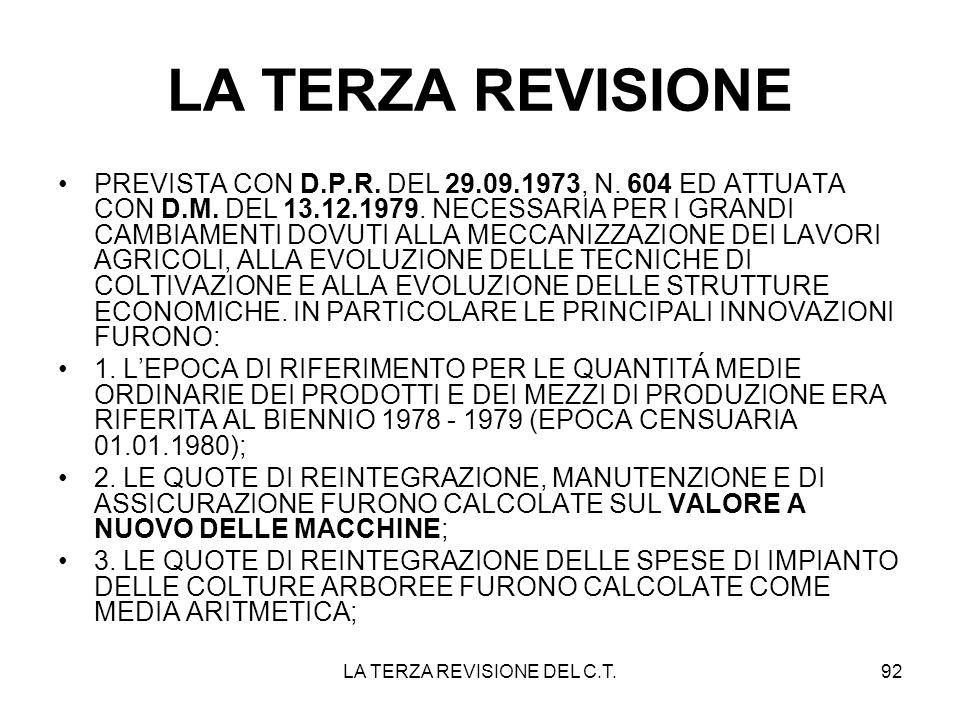 LA TERZA REVISIONE DEL C.T.