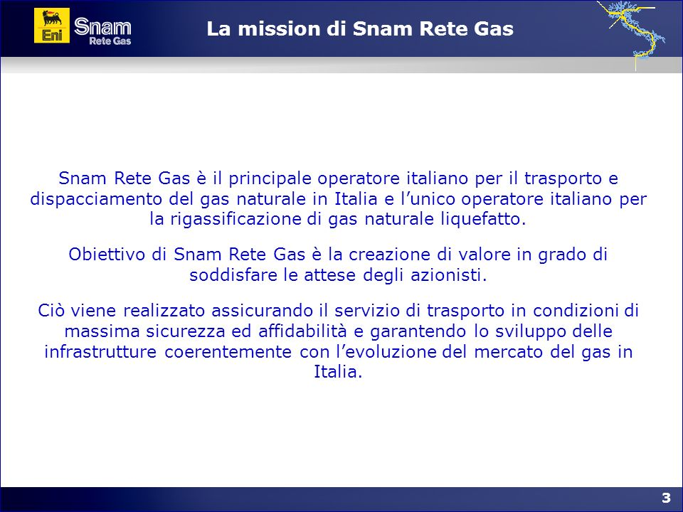 La mission di Snam Rete Gas