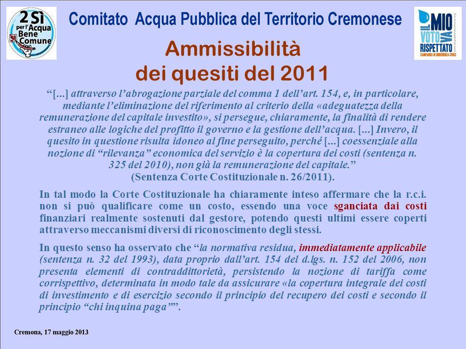 Ammissibilità dei quesiti del 2011