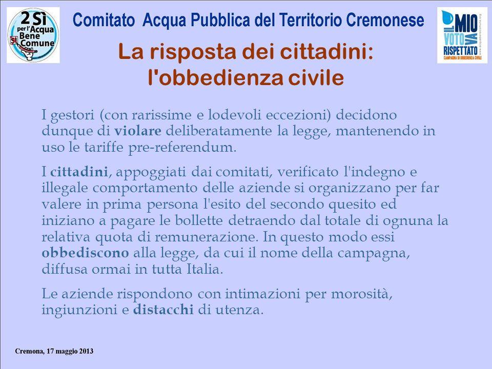 La risposta dei cittadini: l obbedienza civile