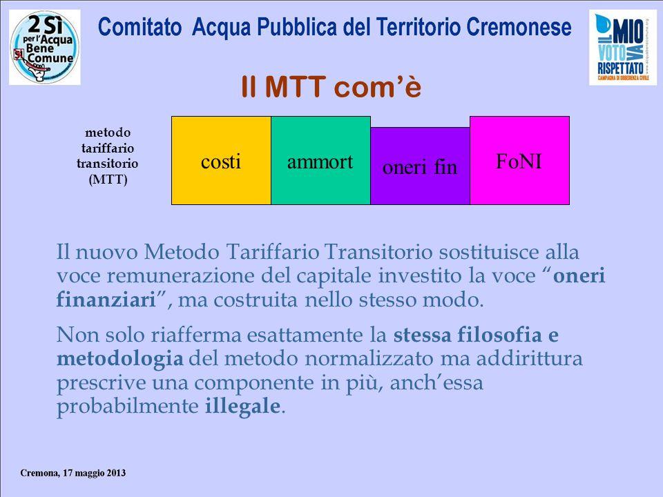 metodo tariffario transitorio (MTT)