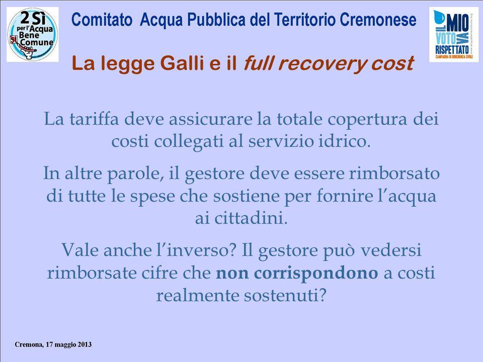 La legge Galli e il full recovery cost