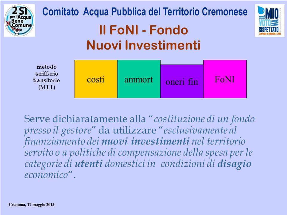 Il FoNI - Fondo Nuovi Investimenti