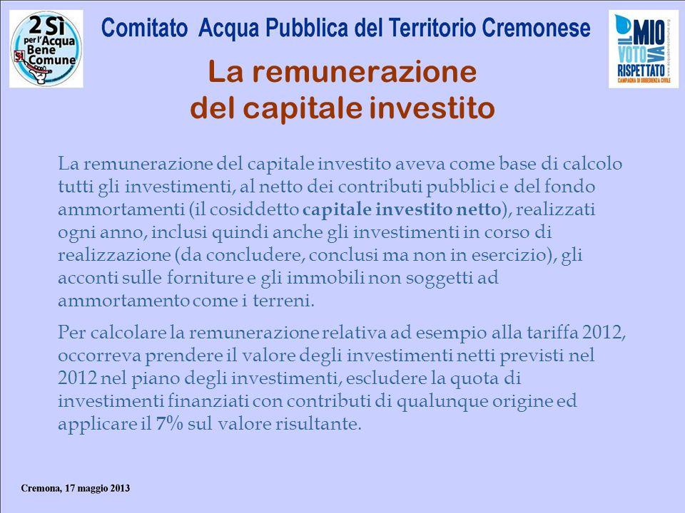 La remunerazione del capitale investito