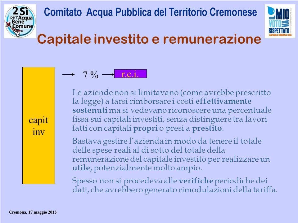 Capitale investito e remunerazione
