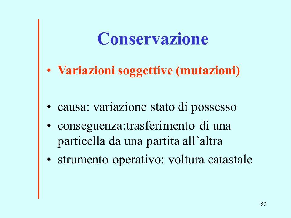 Conservazione Variazioni soggettive (mutazioni)