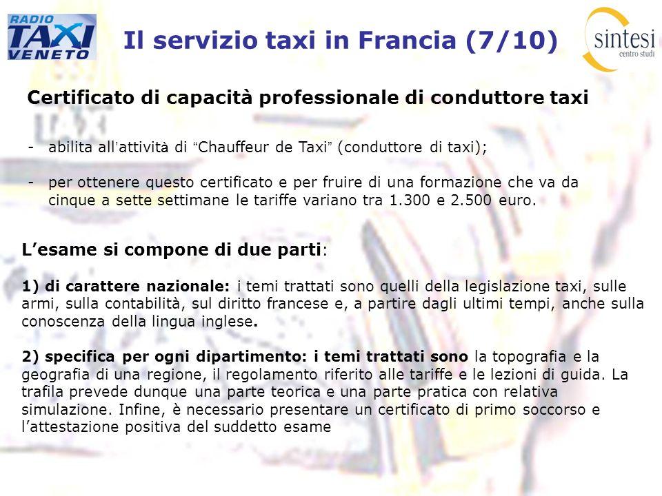 Il servizio taxi in Francia (7/10)