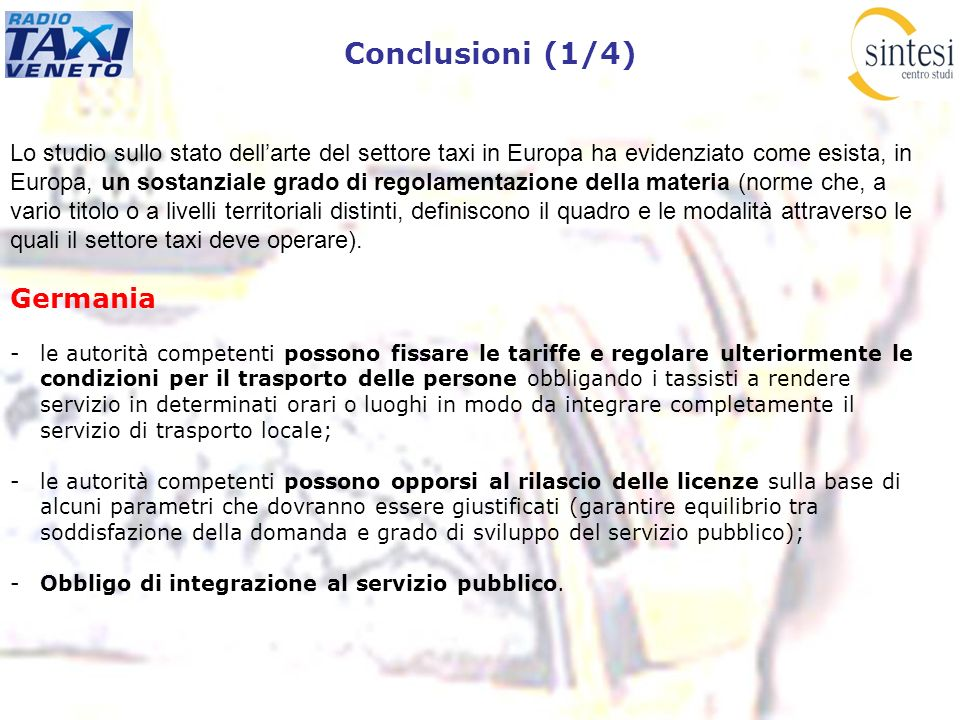 Conclusioni (1/4) Germania