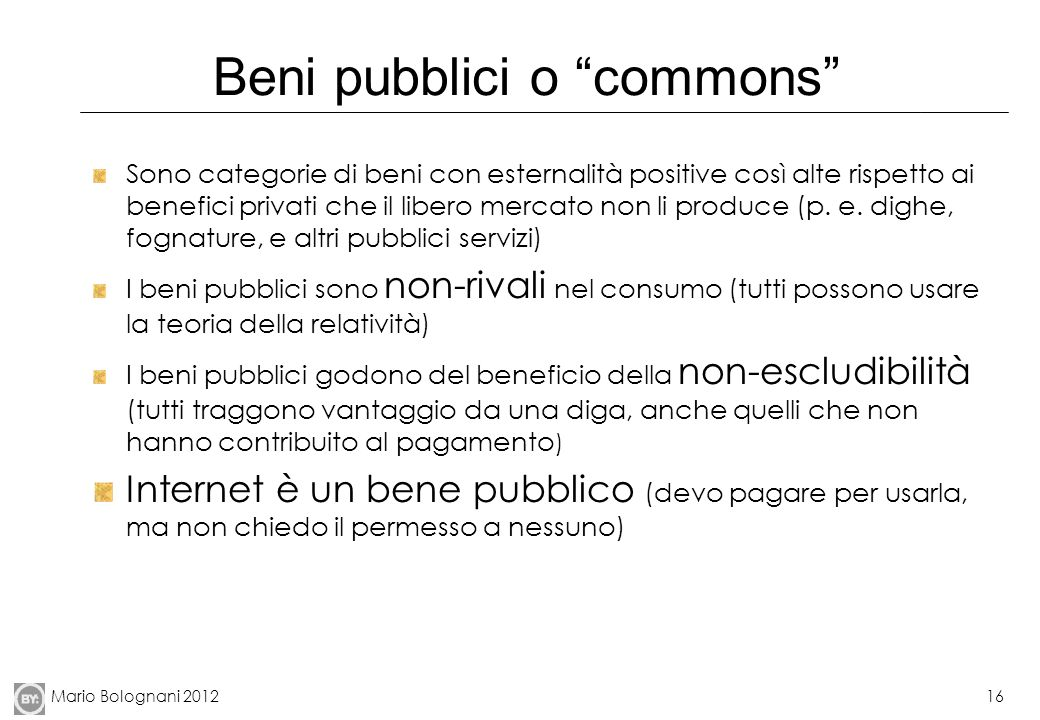 Beni pubblici o commons