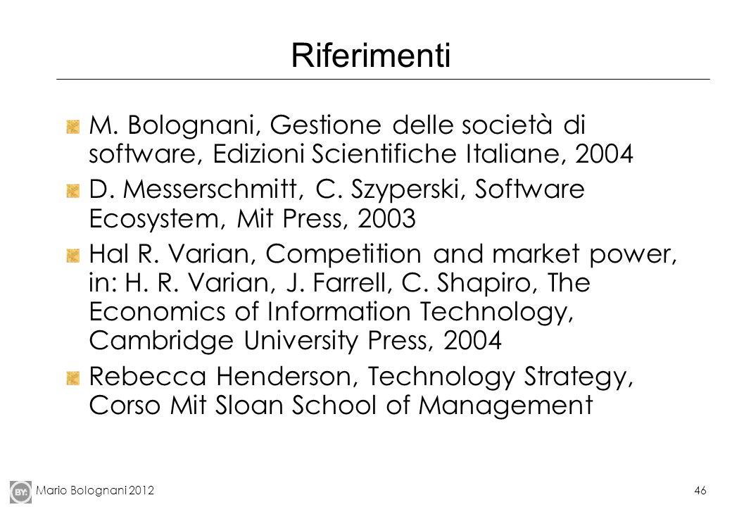 Riferimenti M. Bolognani, Gestione delle società di software, Edizioni Scientifiche Italiane, 2004.