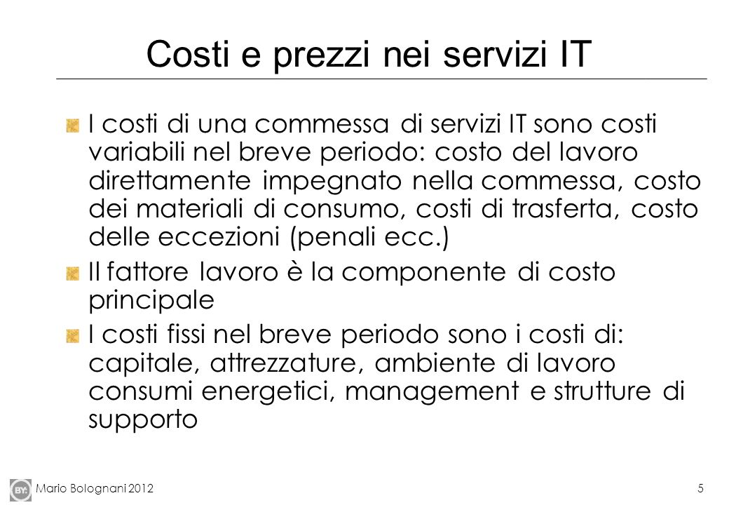 Costi e prezzi nei servizi IT