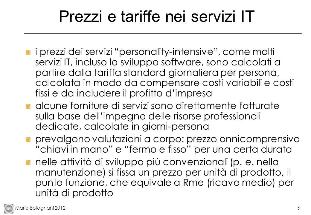 Prezzi e tariffe nei servizi IT