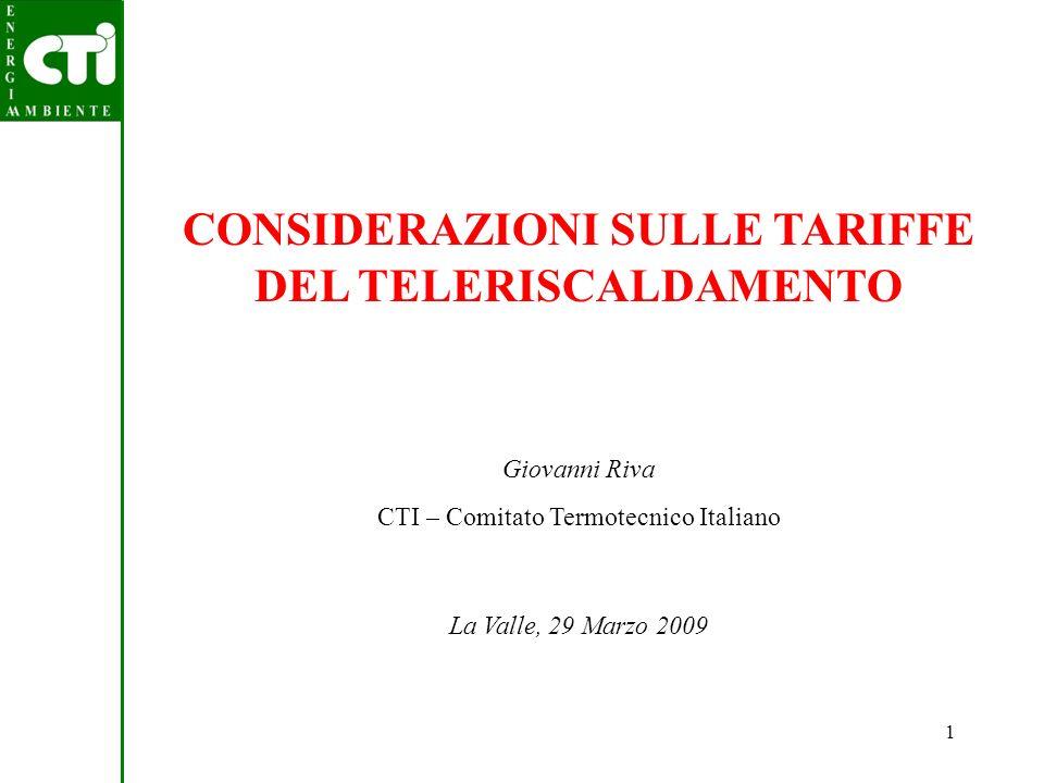 CONSIDERAZIONI SULLE TARIFFE DEL TELERISCALDAMENTO