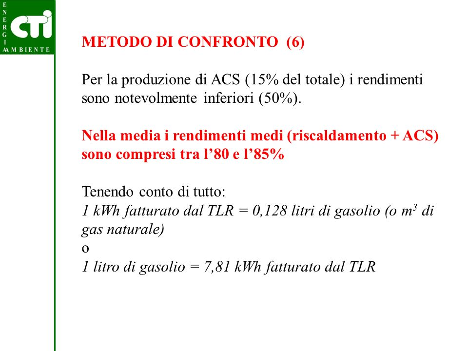 METODO DI CONFRONTO (6) Per la produzione di ACS (15% del totale) i rendimenti sono notevolmente inferiori (50%).