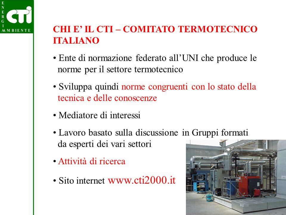 CHI E' IL CTI – COMITATO TERMOTECNICO ITALIANO